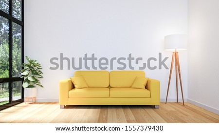 White Living Room Interior with Wooden Floor and Copy Space on Wall for Mock Up, 3D Rendering #1557379430
