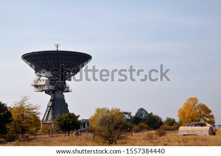 View of the P-400P radio telescope in Zaozerny (Evpatoria, Crimea). A series of Soviet high-precision radio telescopes for long-range space communications in the ultra and super high frequency ranges. #1557384440