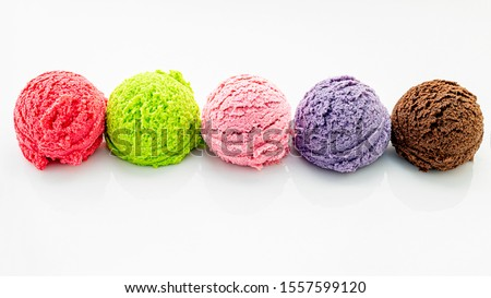 Various of ice cream flavor ball  isolate on white background . #1557599120