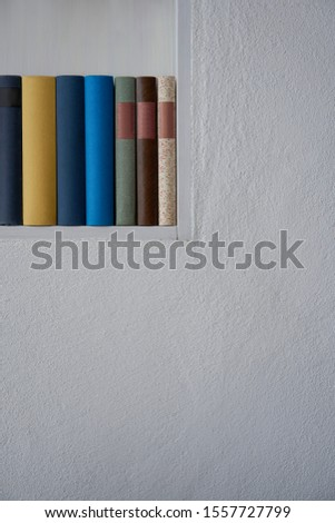 Detail of nice books in a bookshelf in a white plastered wall, upright format #1557727799