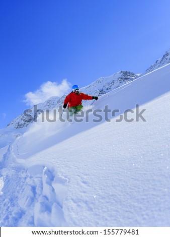 Ski, Skier, Freeride in fresh powder snow - man skiing downhill #155779481