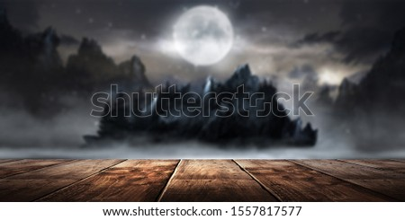 Wooden table night landscape background.