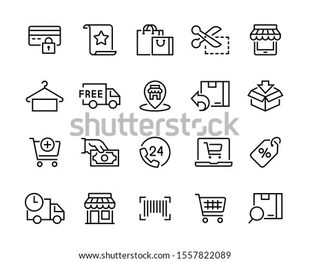 Set of shopping icons. Сollection of web icons for online store, such as discounts, delivery, contacts, payment, app store, location, shopping cart. Editable vector stroke 96x96 pixel  #1557822089