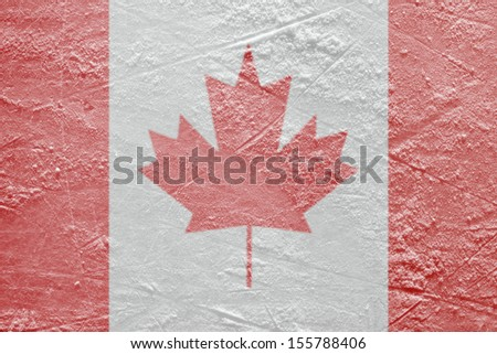 Image of the Canadian flag on a hockey rink. Texture, background