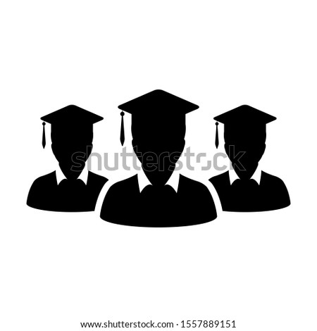 Learning icon male group of students person profile avatar with mortar board hat symbol for school, college and university graduation degree in flat color glyph pictogram illustration