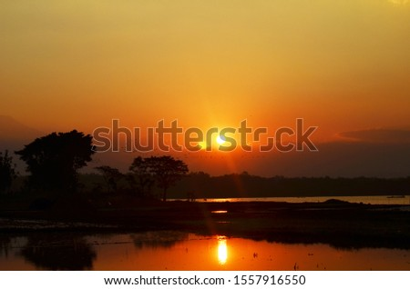 Beautiful Sunset, Nature Water Stock Photo High Resolution
