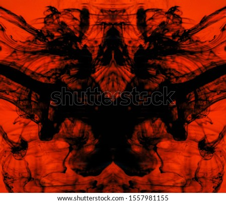 Blurred abstract background. Colorful inks in the water. Splash paint mixing. Watercolor effects. Ink pattern in Rorschach test style.  #1557981155