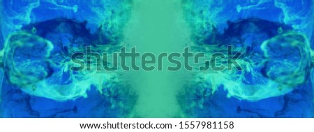 Blurred abstract background. Colorful inks in the water. Splash paint mixing. Watercolor effects. Ink pattern in Rorschach test style.  #1557981158