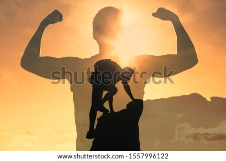 Man climbing up mountain, feeling strong and powerful. Double exposure, self improvement, success, and life goals concept.  Royalty-Free Stock Photo #1557996122