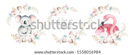 Watercolor illustration with cute mommy flamingo and baby, flovers, ribbon, leaves