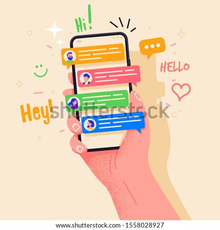 Hand holding phone with short messages, icons and emoticons. Chatting with friends and sending new messages. Colorful speech bubbles boxes on smartphone screen flat design vector illustration. #1558028927