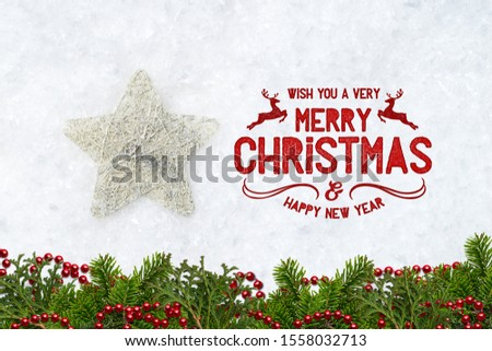 decorative star in decorative snow with merry christmas message #1558032713