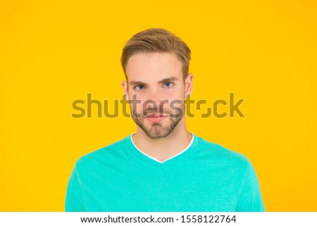 current generation. handsome man unshaven face. sexy guy yellow background. Male barber care. summer male fashion. Hair and beard care. macho man charismatic look. guy sexy and stylish bristle. #1558122764