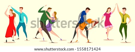 easy to edit vector illustration of group of dancing people friend colleague celebrating birthday, new year disco dance holiday #1558171424