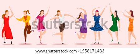 easy to edit vector illustration of group of dancing people friend colleague celebrating birthday, new year disco dance holiday #1558171433
