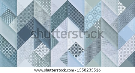 Beautiful trendy nature background seamless pattern with blue stylized summer 3d flowers violets and green leaves. Floral stylish modern wallpaper. ceramic wall tiles design, illustration
