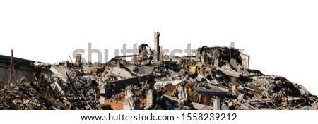 Ruined building. A pile of concrete, rubble and reinforcement debris isolated on a white background. Clipping path saved #1558239212