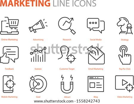 set of marketing icons, seo, analytics, ads, business Royalty-Free Stock Photo #1558242743