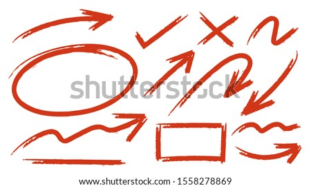 Sketch arrow set. Hand drawn arrows elements for business and education. -Vector  Royalty-Free Stock Photo #1558278869