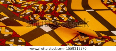 Background texture. silk bright fabric Mosaic geometric shapes Composition with colorful stained glass Grid design Illustration red yellow brown colors #1558313570