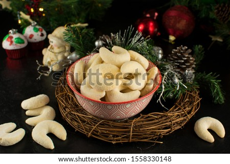 Delicious Christmas Crescent Cookies - on black background #1558330148