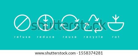 Zero waste. Ecology vector web banner. Reuse Reduce Recycle Rot Refuse. Zero waste. Conscious consumption. Neo mint. #1558374281