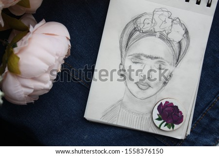 Photo of Frida portrait, picture of flowers