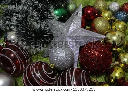Christmas decoration background; Christmas balls and Christmas decoration #1558379213