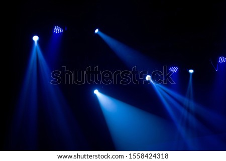 scene, stage light with colored spotlights and smoke #1558424318