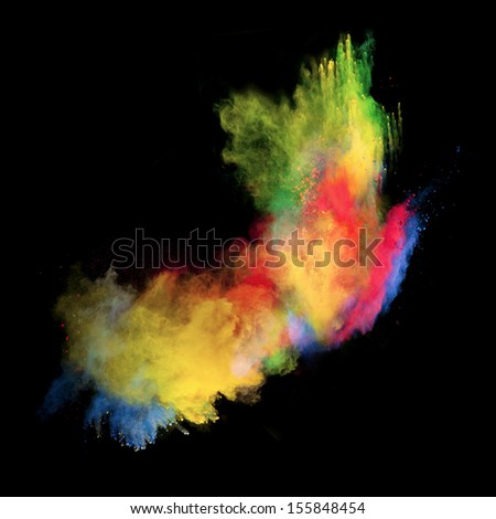 Colored powder isolated on black background #155848454