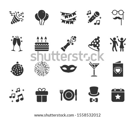Vector set of party flat icons. Contains icons of firework, cake, karaoke, masquerade, champagne and more. Pixel perfect, scalable 24, 48, 96 pixels. Royalty-Free Stock Photo #1558532012