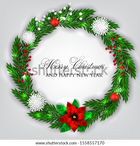 Christmas Party invitation card poinsettia red berry  paper snowflake light  fir  christmas branch #1558557170