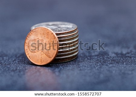 Pile of Golden coin, silver coin, copper coin, quarters, nickels, dimes, pennies, fifty cent piece and dollar coins. Various USA coins, American coins for business, money, financial coins and economy #1558572707