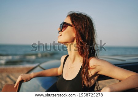 woman model on vacation in the car on vacation #1558725278