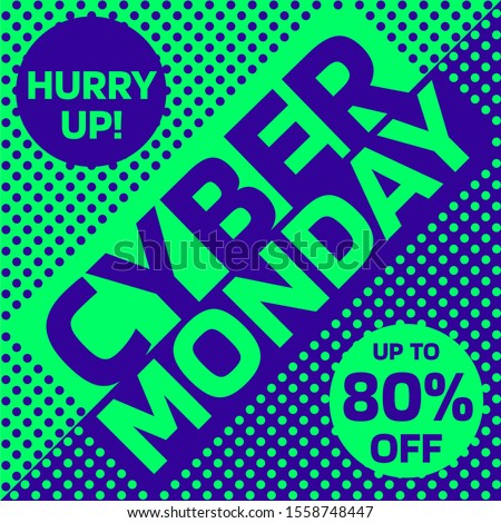 Green and blue Cyber Monday sale square banner #1558748447