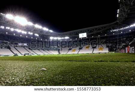 TURIN, ITALY - November 10, 2019:  A general view inside the stadium after the Serie A 2019/2020 JUVENTUS v MILAN at Allianz Stadium.  #1558773353