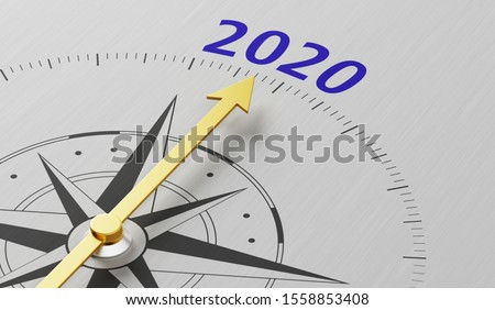 Compass needle pointing to the text 2020 #1558853408