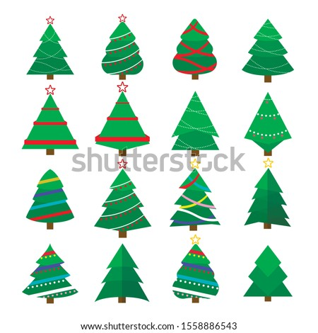 Set of Christmas tree vector icon.  New Years tree with heralds, striped christmas pine. 2020 winter holidays party green fir with garland decoration. Decorated xmas trees.  #1558886543
