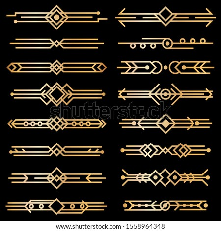 Art deco dividers. Gold deco design lines, golden book header borders. 1920s victorian vintage elements on black. isolated swirl texture decor template collection #1558964348