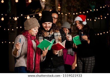 Mexican Posada Hispanic People Singing carols in Christmas in Mexico