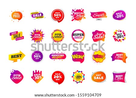 Sale banner badge. Special offer discount tags. Coupon shape templates design. Cyber monday sale discounts. Black friday shopping icons. Best ultimate offer badge. Super discount icons. Vector banners #1559104709