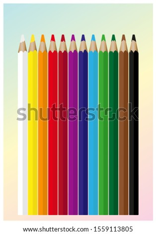 Set of 12 colored pencils. Realistic colorful painting pencils vector illustration #1559113805