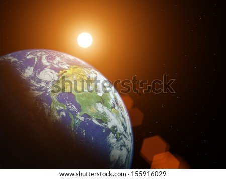Planet earth with sunrise in the space. Elements of this image furnished by NASA #155916029