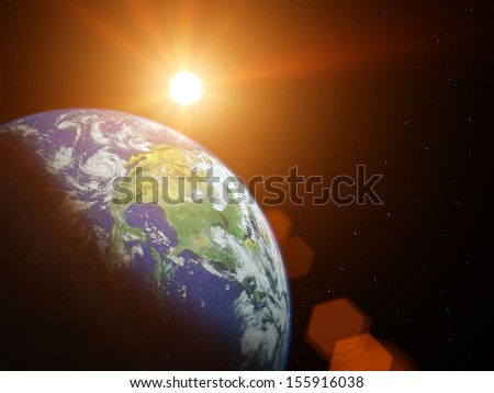 Planet earth in space with sun shining.  Elements of this image furnished by NASA #155916038