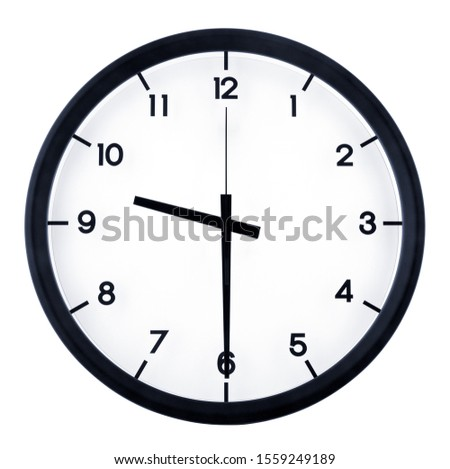 Classic analog clock pointing at 8 o'clock, isolated on white background #1559249189