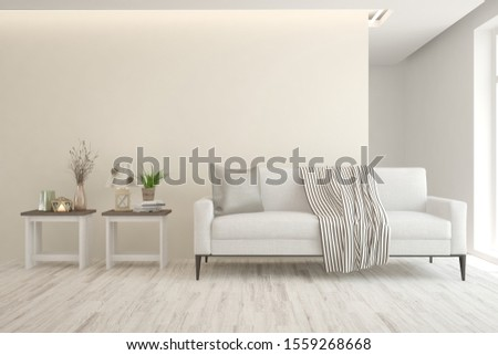 Stylish room in white color with sofa. Scandinavian interior design. 3D illustration #1559268668