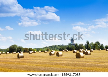 barley field after harvest with straw, Humprecht castle, Bohemian Paradise, Czech Republic #1559317085