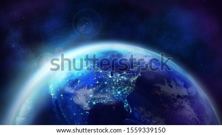 Dawn over the planet Earth. The night half of the Globe. #1559339150