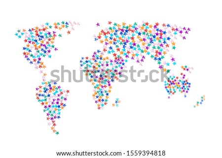 A sketchy world map made of multi-colored rhinestones in the form of stars. The concept of global holidays, New Year, Christmas. White background, minimalism. The approximate outline. #1559394818