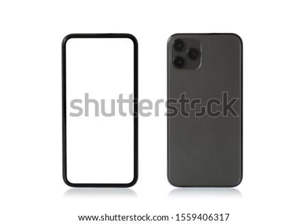 Mobile phone mockup, front and back sides.